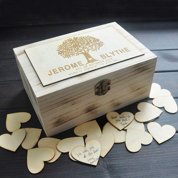 Gepersonaliseerde bruiloft-gastenboek, rustieke bruiloft-gastenboek, aangepaste houten Keepsake box, bruiloft gast boek alternatief met 100 hart