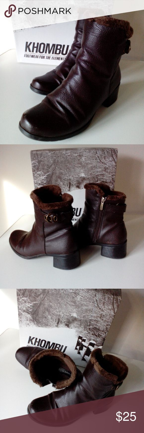 """KHOMBU BOOTS KHOMBU ankle boots footwear for the elements. Brown with inside zippers and outside adjustable buckle detail. Faux fur lined. All man-made materials. Heel height approximately 1 3/4"""" Khombu Shoes Ankle Boots & Booties"""
