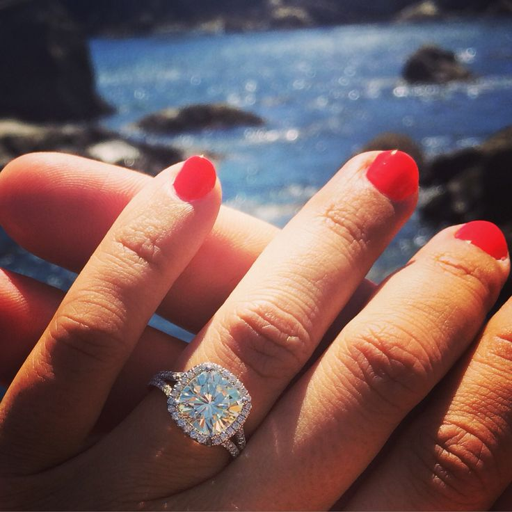My engagement ring. 4 ct cushion cut split shank