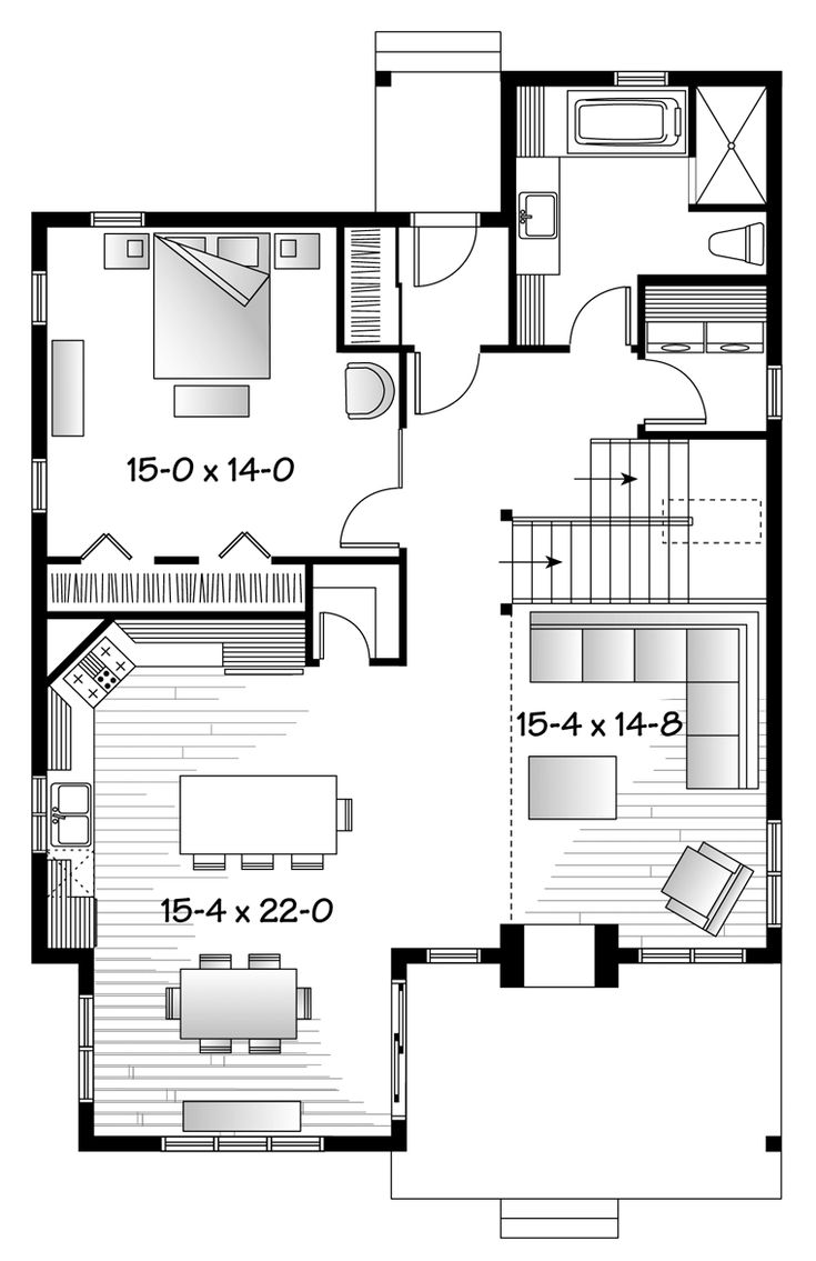 Cape Cod Cottage Country Craftsman House Plan 76340 Level One
