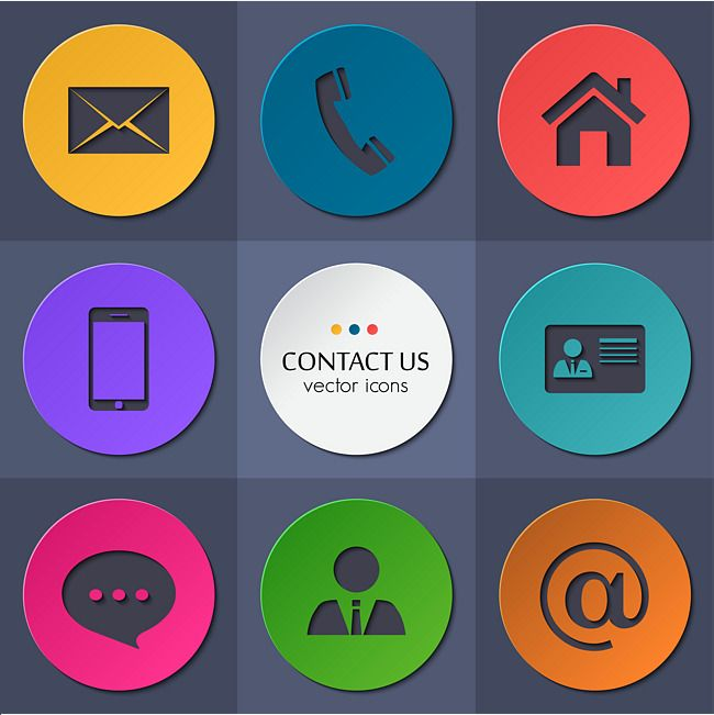 Color Blocks Round Contact Icons Vector Material Color Blocks