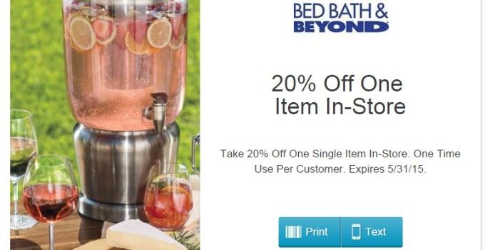 Bed Bath and Beyond Coupon 20 Percent Off One Item In-Store