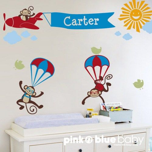 Monkeys with Airplane Banner Custom Name - Nursery Wall Decal | pinknblueBaby - Children's on ArtFire