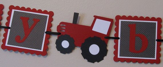 Small Tractor Birthday Banner red black white by scraptags on Etsy