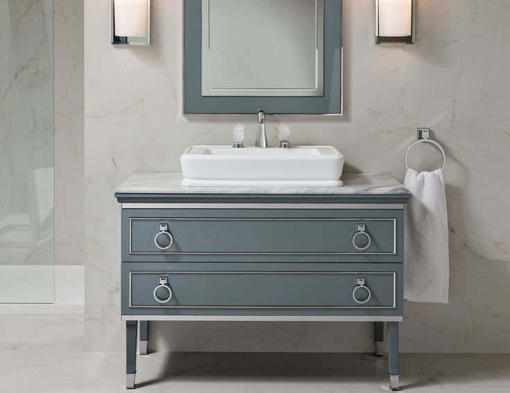 """Lutetia L17 luxury classic Italian bathroom vanity inspired by Art Deco style shown in 53.9"""" width in brown lacquer, gold trim and marble Bardiglio nuvolato top. Available in widths of 36.6"""", 45.3"""", 53.9"""", and 70.9"""" with 2 drawers or 4 drawers. Available in more than 30 lacquered colors with trim / accent in bronze, silver or gold. Tops can be specified in a range of marble options. Made in Italy."""