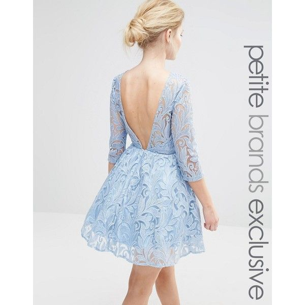 Chi Chi London Petite Sequin Embellished Plunge Back Prom Dress ($106) ❤ liked on Polyvore featuring dresses, blue, petite, blue dress, sheer lace dress, lace prom dresses, petite dresses and cocktail prom dress