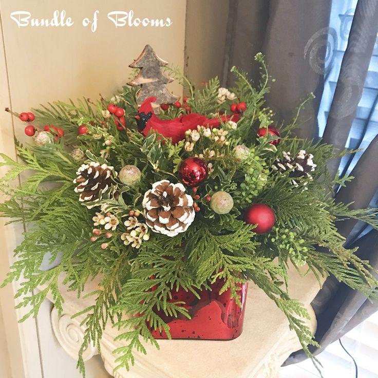 Cardinal Christmas arrangement