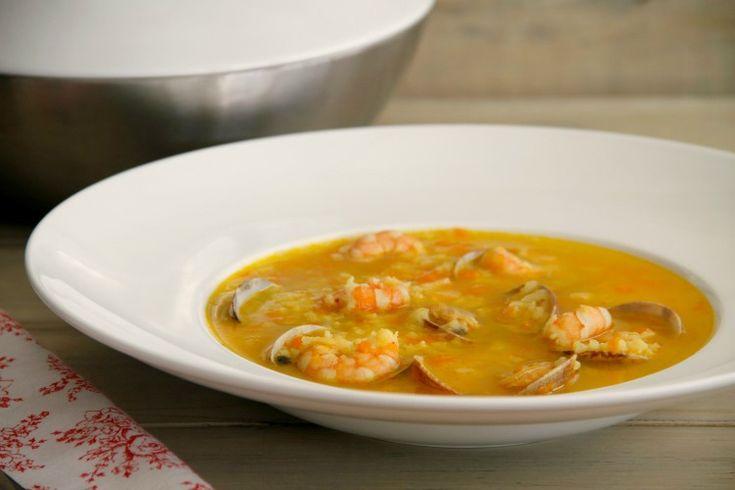 Sopa de arroz con almejas y gambas - MisThermorecetas