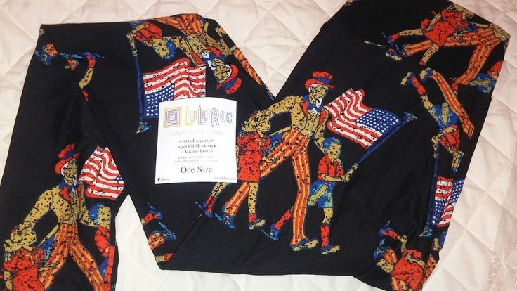 LuLaRoe Legging OS NEW Uncle Sam Patriotic American Flag Black Backgroud UNICORN  | eBay