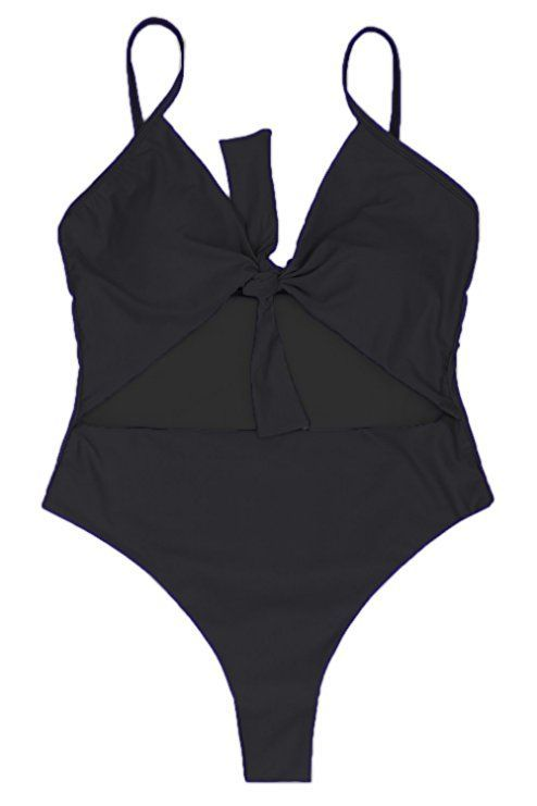 ed97757f76c LEISUP Womens Spaghetti Strap Tie Knot Front Cutout High Waist One Piece  Swimsuit  leisup