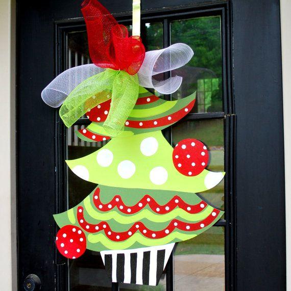 Christmas Wreath, Christmas Door Decoration, Christmas Tree Door Hanger, Christmas  Decor, Christmas Door Hanger, Holiday Door Decoration