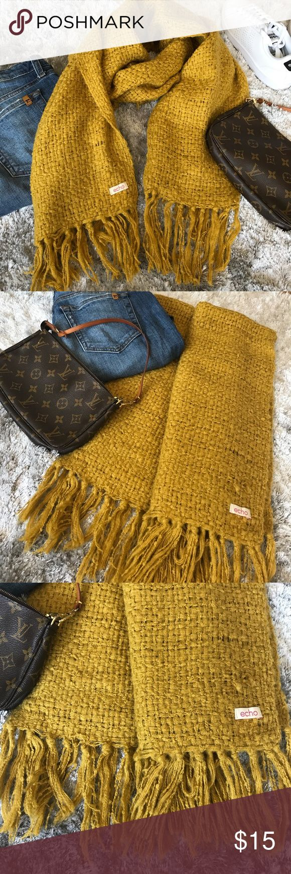 Echo mustard yellow oversized chunky knit scarf Echo oversized chunky knit scarf. Mustard yellow. Minor snags as shown in pics. Great condition. Echo Accessories Scarves & Wraps