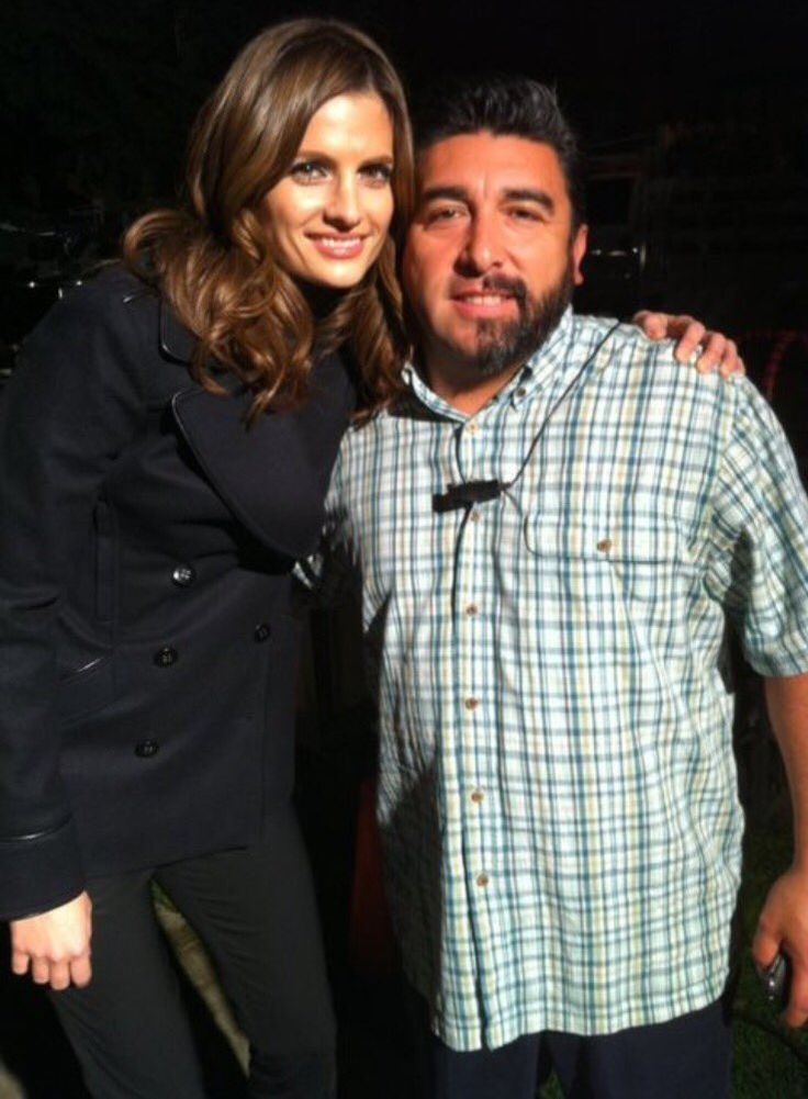 Stana took photos with some of the Castle beard contest participants.