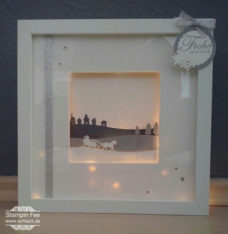 stampin Frame light winter slight Christmas  ribba Rahmen Winter Weihnachten mit Beleuchtung Licht inspiriert von Anja-Basteleien