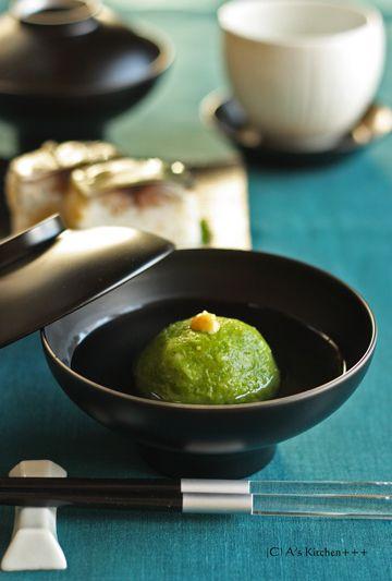 Japanese food / 青豆まんじゅうのお椀