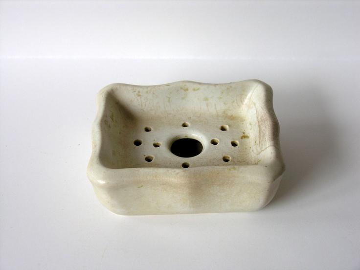 Antique Soap Dish Holder Rustic Farmhouse Bathroom Primitive White Semi Granite Pottery (30.00)