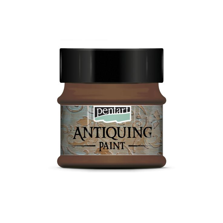 Antiquing paint // It is a water-based paint that can be wiped off and can be used to create realistic antique affect objects. Apply a primer color by matte acrylic paint or by dekor paint, and then paint it by a different color antiquing paint. You can also mix various colors. Wiping the paint off by a soft cloth, you can create worn effect. You can help wiping by a paint remover liquid specifi cally developed to the antiquing paint.