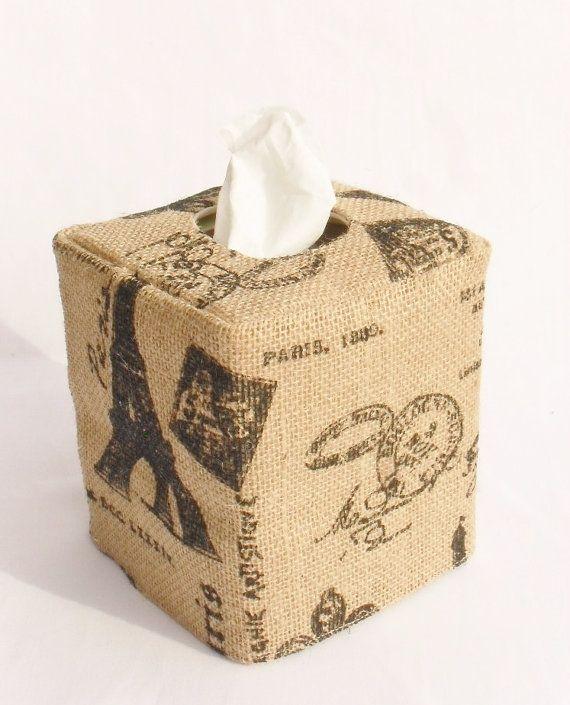 Paris Theme Burlap natural tissue box cover by headtotoe2009, $13.00