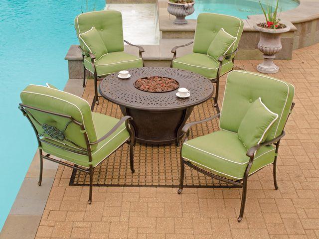 athena cushion cilantro 5 pc cast aluminum firepit chat group has it all add cast aluminum patio furnitureoutdoor - Garden Furniture King
