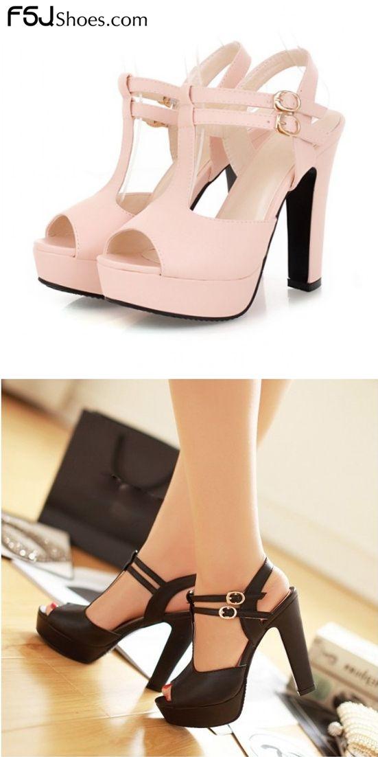 2213ebaa2209 Women s Pink T-Strap Sandals Peep Toe Chunky Heels Ankle Strap ...