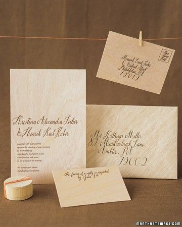 Make your own envelopes with special decorative papers. Here, paper-backed wood veneer was used to create a gorgeous invitation suite.