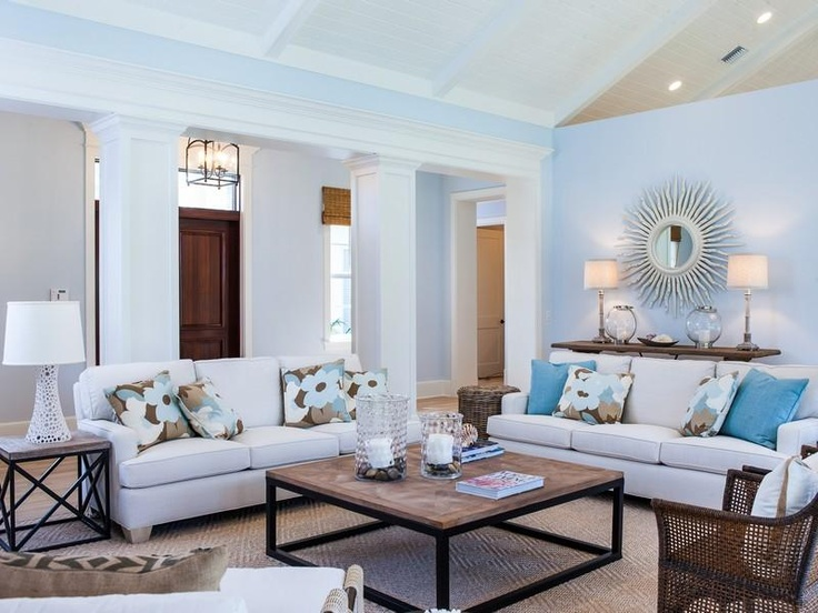 Neutral Blue And Ivory Beachy Rustic Contemporary Living Room On Johns Island Vero Beach Florida