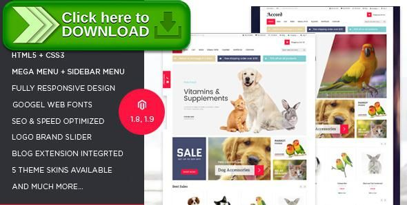 [ThemeForest]Free nulled download Accord - Pet Store Responsive Magento Theme from http://zippyfile.download/f.php?id=477 Tags: online Pet store theme, pet shop, Pet shop magento, Pet store magento template, pet store template, Pet store theme, Pet store website, Pet store website magento, Pets magento theme, Pets responsive theme, Pets templates, pets theme