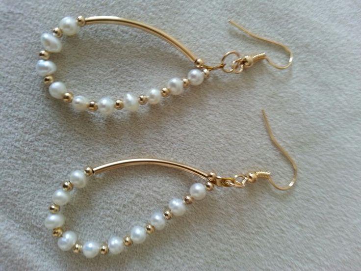 Aretes perla de rio