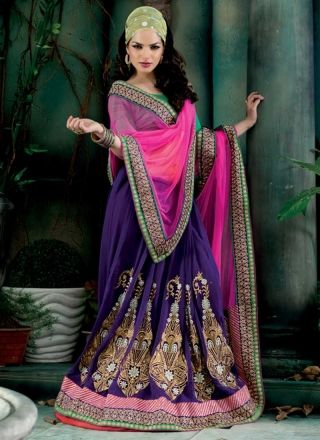 Latest Blue And Magenta Net Georgette Embroidery Work Lehenga Saree  http://www.angelnx.com/Sarees/Lehenga-Sarees#/sort=p.date_added/order=DESC/limit=32/page=3