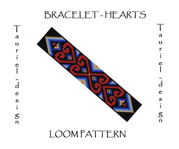 Loom pattern - native american inspired bracelet pattern - Hearts on Etsy, $2.99