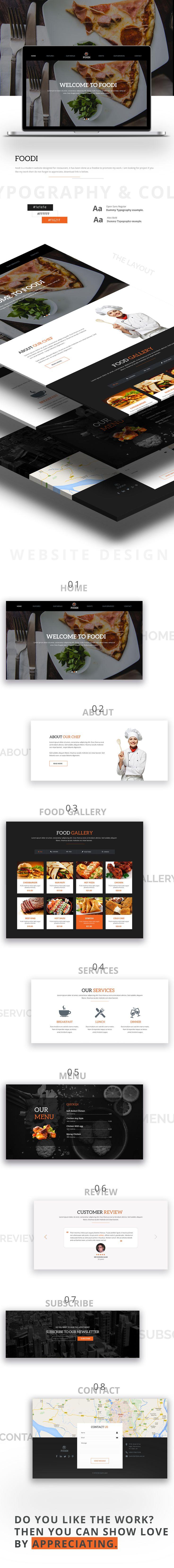 Restaurant Website Homepage Template Free PSD | uihive