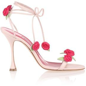 Manolo Blahnik Xafiore Pink Leather Rose Sandal ($855) ❤ liked on Polyvore featuring shoes, sandals, rose shoes, pink ballet shoes, leather shoes, rose pink shoes and pink shoes