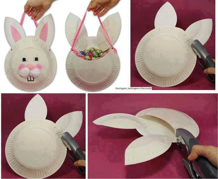 HOMEMADE BUNNY BASKET  ~ WHAT YOU NEED: Three paper plates, cotton balls, stapler (or glue for making the final craft safer for young children,) pink ribbon, pencil, scissors, white and pink pieces of paper. ~ Found on FB at We Be Bitchin In Our Kitchens, And More - A Recipe, Home & Garden Club