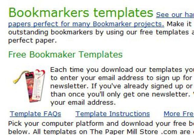 Microsoft Word Templates for Business: Bookmarks