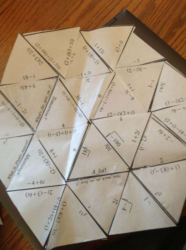 Tarsia puzzle for Algebra2 imaginary numbers