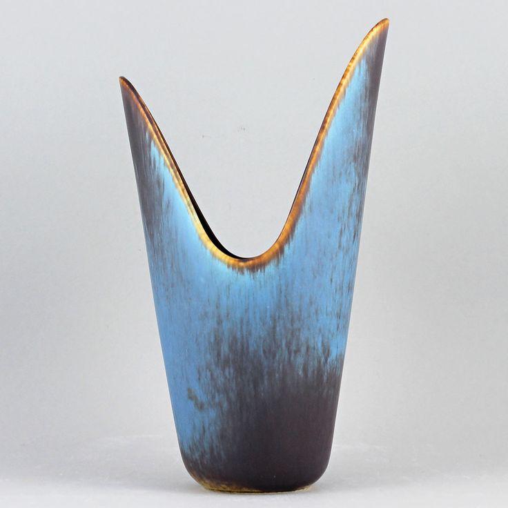 Gunnar Nylund (1950s)  Gorgeous Turquoise Gape Vase