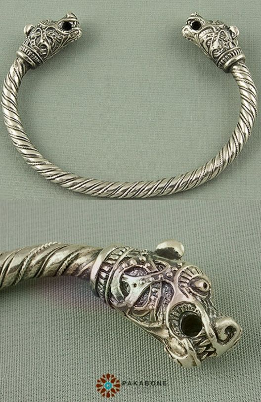 Viking Bracelet With Animal Heads Sterling Silver 925