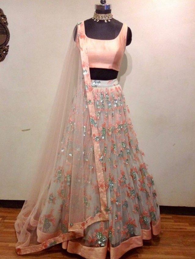 Beautiful Chiffon Silk Lehenga Choli With Beautiful Embellishments Indian Gowns Dresses Indian Outfits Lehenga Indian Wedding Gowns