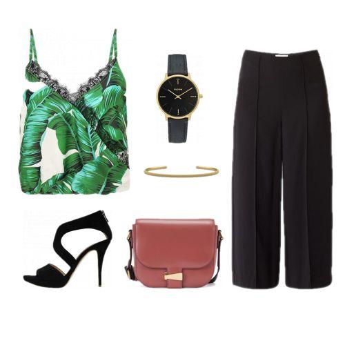 Summer business style/ kantoor outfit zomer/ top palmprint / summer look / culotte combineren/ broekrok combineren