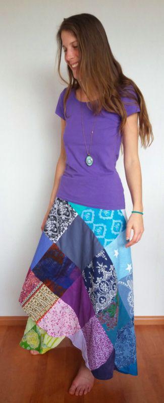 Gypsy Bohemian omslagrok - paars blauw groen