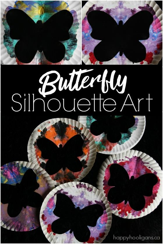 Butterfly silhouette art activity for kids of all ages