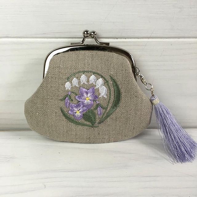 #がま口 #embroidery #刺繍 #lilyofthevalley #violet
