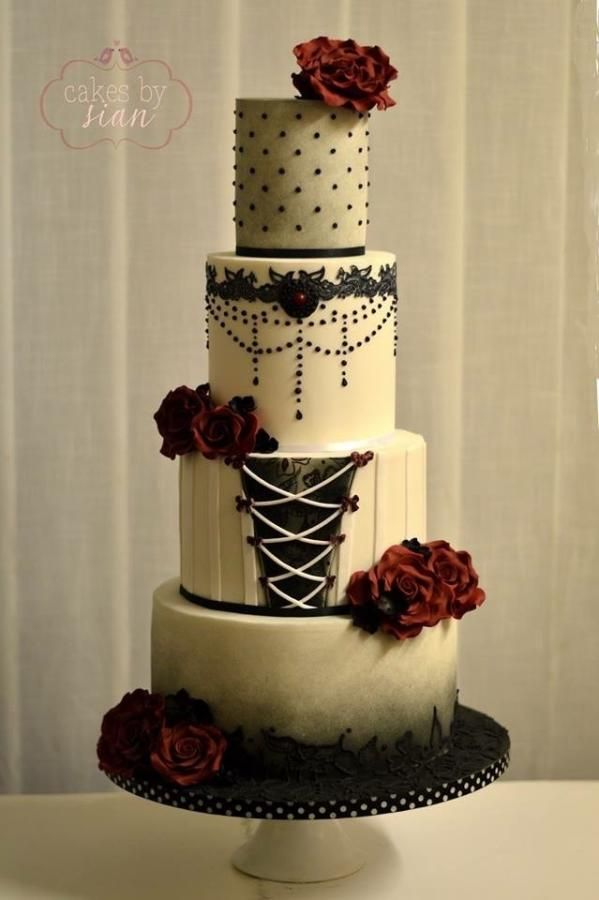Gothic Inspired Wedding Cake for CI by Cakes by Sian - http://cakesdecor.com/cakes/220660-gothic-inspired-wedding-cake-for-ci
