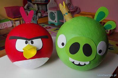 Piniaty w stylu Angry Birds - wskazówki na Lubię Tworzyć! :)  #angrybird #angrybirds #wściekłyptak #wściekłeptaki #zielonaświnia #świnia #kingpig #diy #zróbtosam #gra #grakomputerowa #videogame #videogames #handmade #tutorial #poradnik #jakzrobić #howto #instrukcja #instruction #craft #crafts #papercraft #papercrafts #papiermache #papermache #technikapapiermache