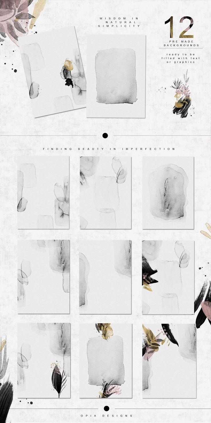 Wabi-Sabi – Dschungel-Abstraktionen von OpiaDesigns on Creative Market #watercolor #f