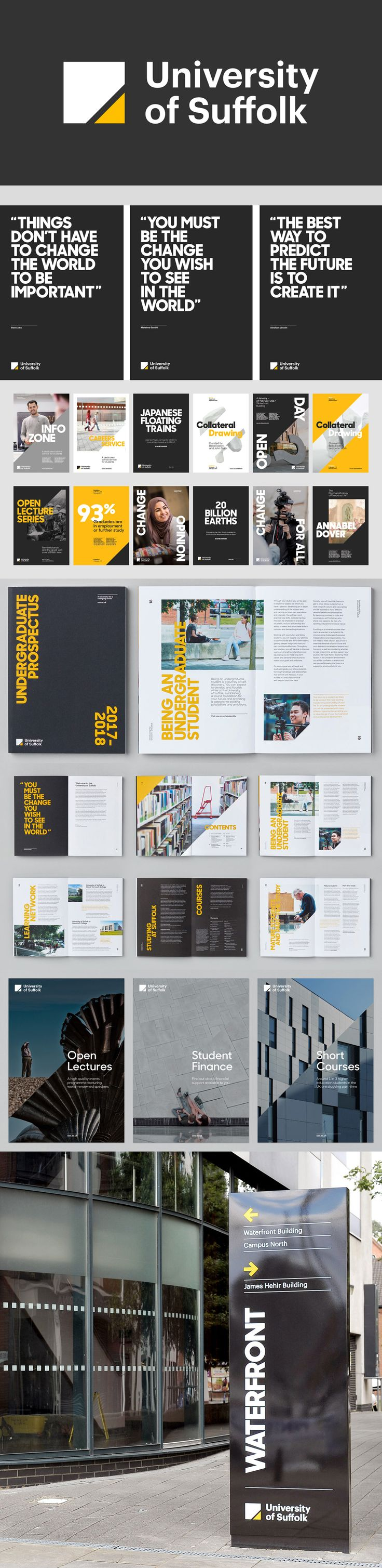 University of Suffolk branding editorial brochure layout typography color yellow