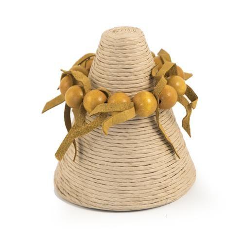 Bracciale elastico con pallottole in legno dipinto matte e fettucce in pelle.