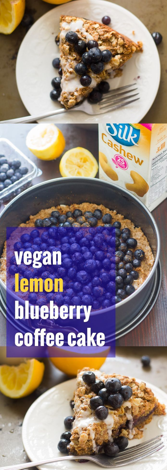 This vegan coffee cake is rich, crumbly, flavored with a hint of lemon, and layered with a filling of juicy blueberries.