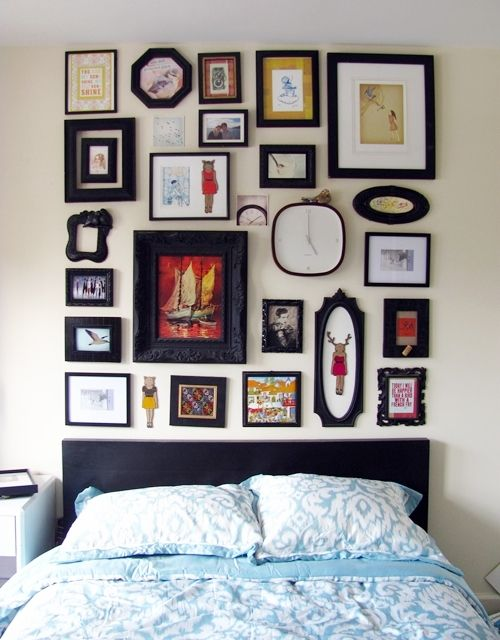 wall decorationDecor, Ideas, Headboards, Pictures Collage, Interiors Design, Gallery Walls, Bedrooms, Frames Collage, Pictures Frames