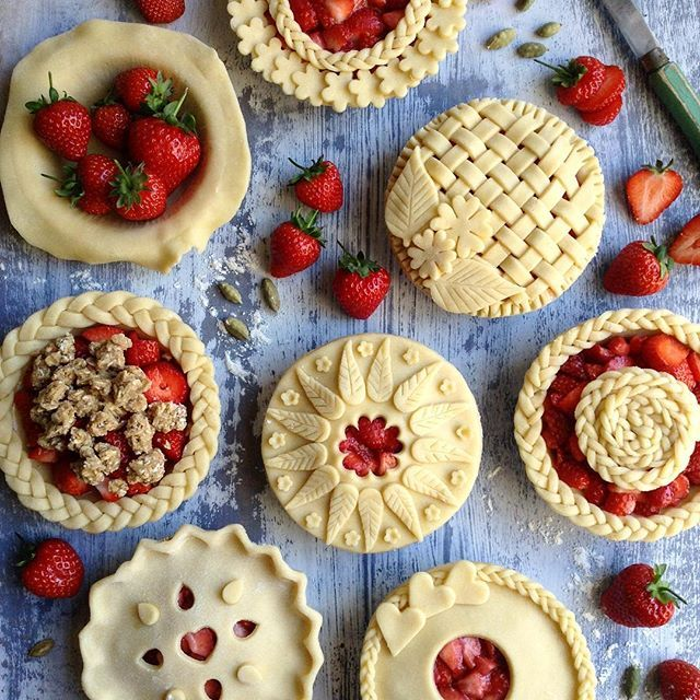 A selection of mini Strawberry, Lime and Cardamom Pies. I lucked out at Waitrose - they had stacks…